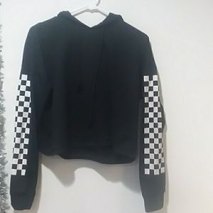 Cropped Checkered Hoodie